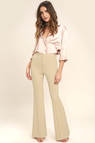 1960s Style Women's Pants Labor of Love Beige Flare Pants $46.00 AT vintagedancer.com