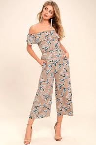 J.O.A. Traveler Beige Floral Print Midi Jumpsuit