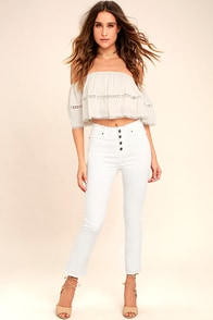 Moon River Uncharted White Distressed Skinny Jeans