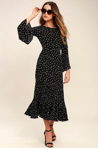1940s Style Dresses and Clothing I. Madeline Dashing Diva Black Print Midi Dress $78.00 AT vintagedancer.com
