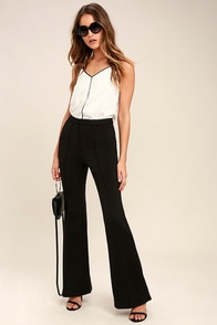 Women's 1960s Style Pants Labor of Love Beige Flare Pants $46.00 AT vintagedancer.com