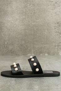 Steve Madden Jole Black Leather Slide Sandals