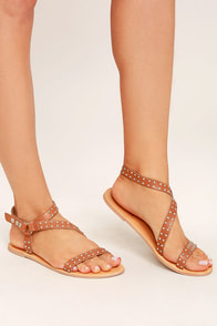 Amuse Society x Matisse Rock Muse Tan Leather Studded Sandals