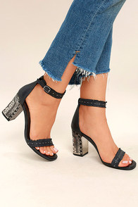 Chinese Laundry Santa Anita Black Leather Ankle Strap Heels