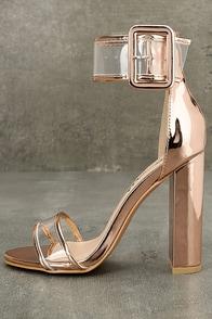 Adara Rose Gold Ankle Strap Lucite Heels