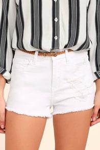 Echo Park White Distressed Denim Shorts