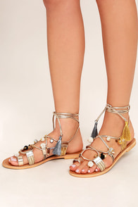 Steve Madden Rambel Metallic Multi Leather Lace-Up Sandals