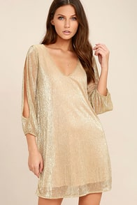 I'm Glistening Gold Long Sleeve Shift Dress