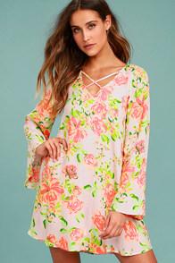 In High Spirits Blush Pink Floral Print Shift Dress