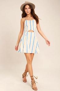 J.O.A. She's Like the Wind White Striped Skater Dress