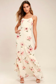 Bring the Rain Cream Floral Print Maxi Dress