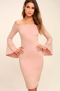 All She Wants Blush Pink Off-the-Shoulder Midi Dress at Lulus.com!