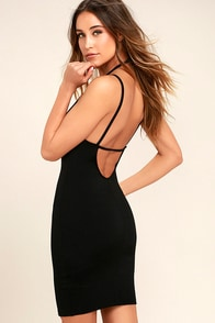 Favorite Distraction Black Backless Bodycon Dress