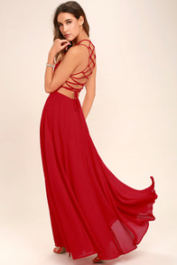 Strappy to be Here Red Maxi Dress