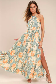 Precious Memories Light Blue and Peach Floral Print Maxi Dress