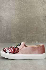 Dirty Laundry Jiana Rose Velvet Embroidered Slip-On Sneakers