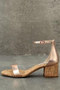 Steve Madden Irenee C Rose Gold Cork Ankle Strap Heels