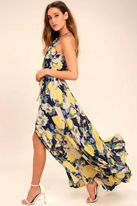 Precious Memories Navy Blue and Yellow Floral Print Maxi Dress