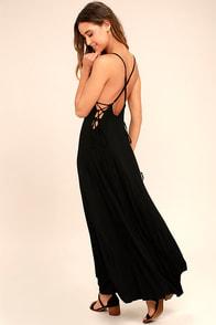 Ever Amazed Black Lace-Up Maxi Dress