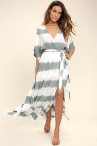 La Concha Dusty Sage Tie-Dye Wrap Maxi Dress at Lulus.com!