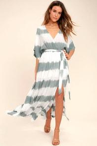 La Concha Dusty Sage Tie-Dye Wrap Maxi Dress