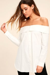 Chelsea Off-White Off-the-Shoulder Long Sleeve Top