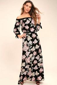 Santa Margherita Black Floral Print Two-Piece Maxi Dress
