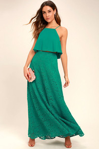 Love at First Sight Teal Lace Two-Piece Maxi Dress