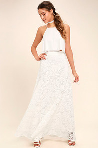Love at First Sight White Lace Two-Piece Maxi Dress