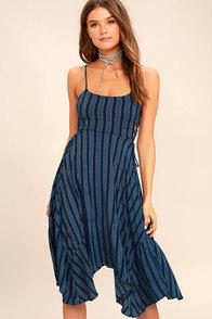 Cute Navy Blue Striped Dress - Midi Dress - Lace-Up Dress ... - photo #17