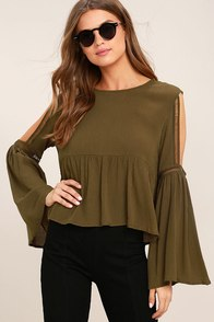Join the Festivities Olive Green Embroidered Long Sleeve Top