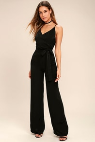 Got You On My Mind Black Jumpsuit at Lulus.com!