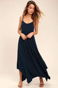 Others Follow Kiara Navy Blue Maxi Dress at Lulus.com!