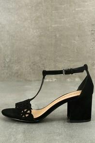 Janessa Black Nubuck T-Strap Heels