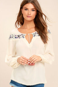 Black Swan Mia Cream Embroidered Long Sleeve Top