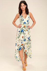Something to Believe In Ivory Floral Print Wrap Dress