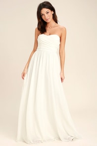 Lovely Ivory Gown - Strapless Dress - Maxi Dress - $82.00