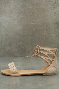 Clarinda Natural Rhinestone Lace-Up Sandals