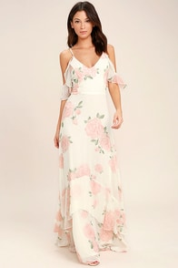 Take You There Ivory Floral Print Maxi Dress at Lulus.com!