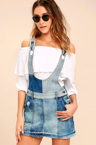 Free People Patchwork Blues Blue Denim Pinafore Dress at Lulus.com!