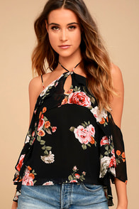 For the Love of Flowers Black Floral Print Top