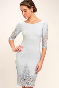 Midnight Garden Blue Grey Lace Bodycon Dress