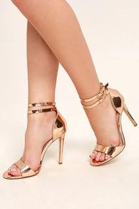 Jacinda Rose Gold Ankle Strap Heels