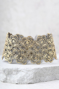 Vanessa Mooney Mera Black And Gold Lace Choker Necklace at Lulus.com!