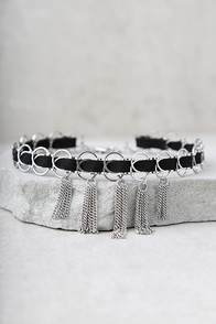 No-Nonsense Black And Silver Choker Necklace at Lulus.com!