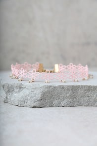 Daisy Darling Blush Pink Lace Choker Necklace at Lulus.com!