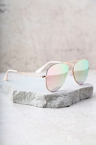 Reflection of Perfection Pink Mirrored Aviator Sunglasses