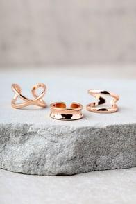 Winning Hearts Rose Gold Ring Set