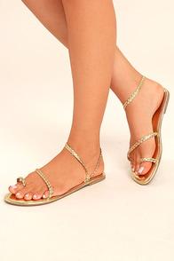 Mirela Gold Flat Sandals