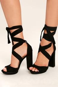 Dorian Black Suede Lace-Up Platform Heels